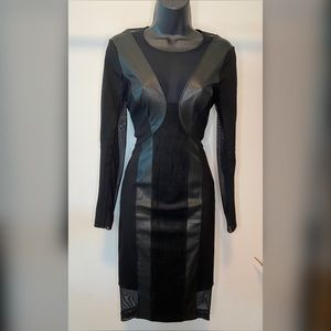 BCBG MaxAzria XS Mesh Panel Midi Dress - #2A